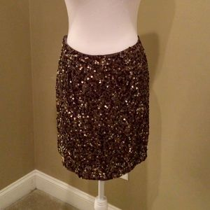 Vince Sequined Skirt Bronze NWT Size 10